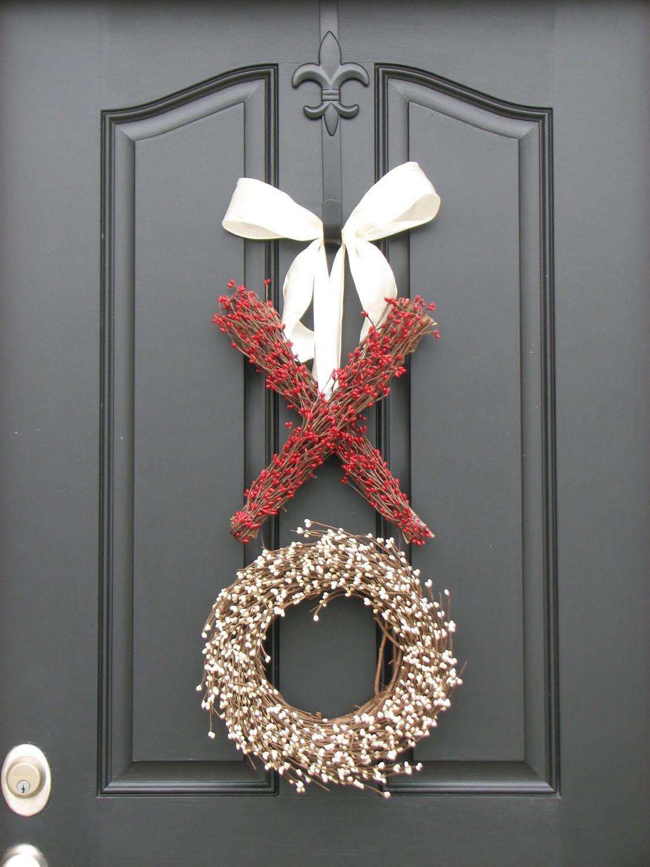 XOXO Decor - Berry Wreath - Kisses and Hugs - XO - Holiday Wreath - Valentine's Day Decor