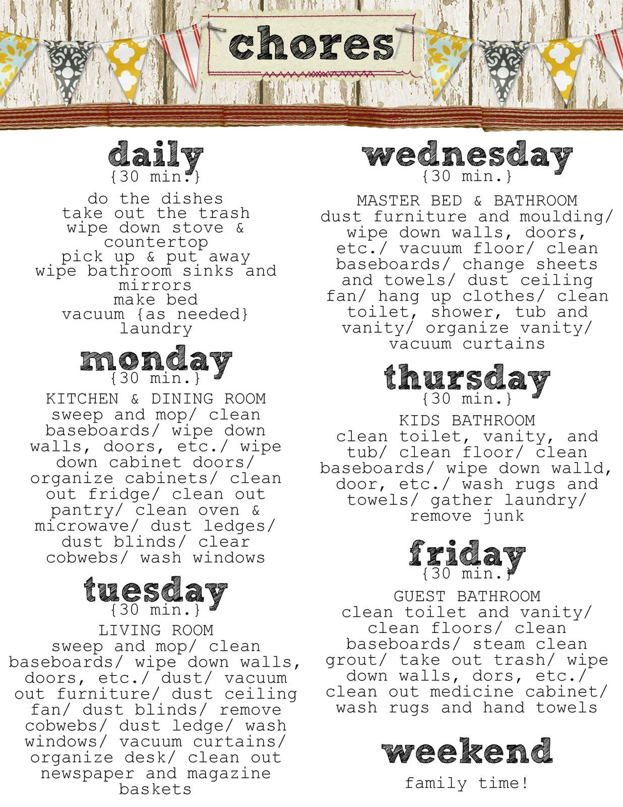 Housekeeping | Each day, Daily chore list and Dry erase markers