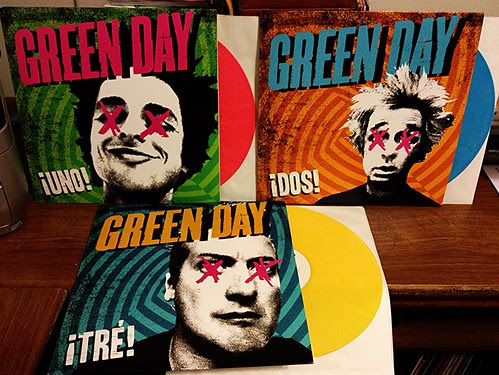 Green Day - Uno LP (Pink Vinyl), Dos LP (Blue Vinyl) & Tre LP (Yellow Vinyl) by Tim PopKid