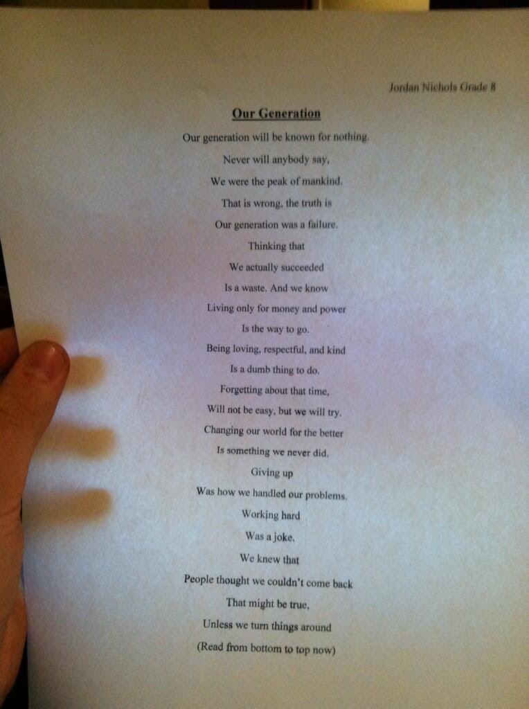 This 14 Year Old Boy Wrote A Poem That Will Make You Think