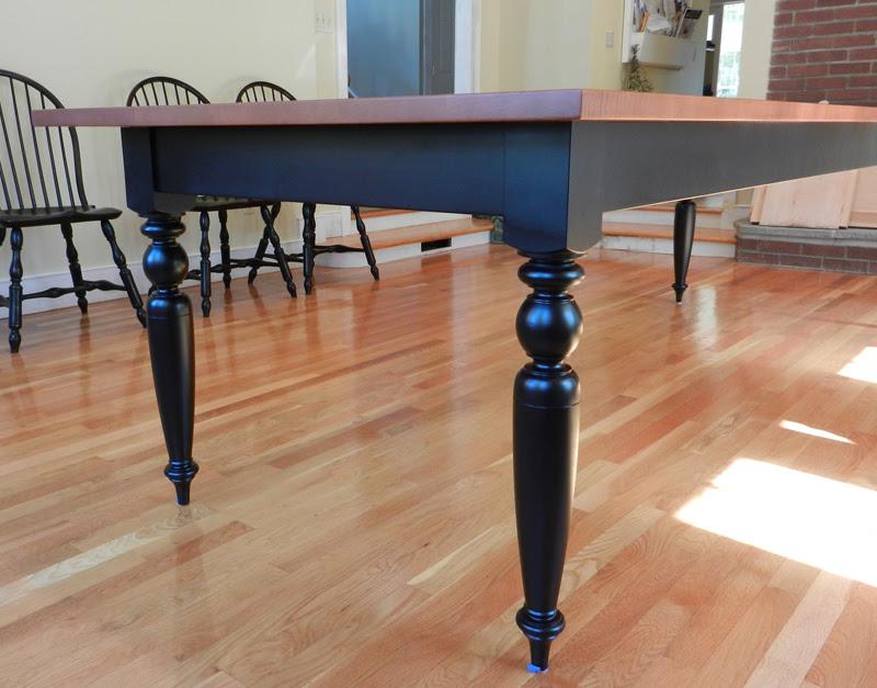 Tiger Maple Dining Room Table w Turned Legs  Hawk Ridge Furniture  VT