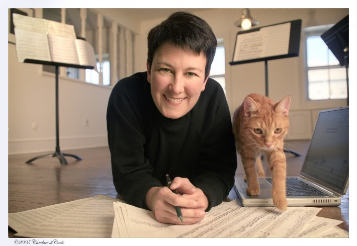 Jennifer Higdon with her cat, Beau