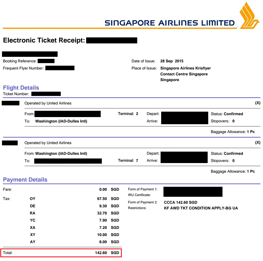 Flight Ticket To Singapore - United Airlines and Travelling