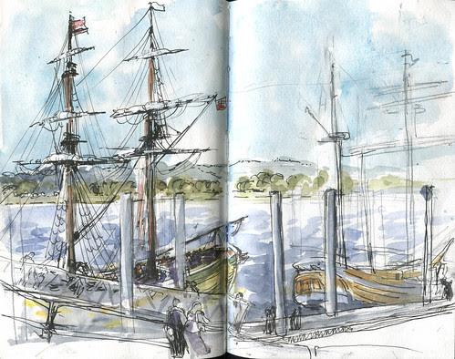 Lady Washington & Hawaiian Chieftain docked in Vancouver, WA