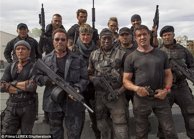 Success: The cast of Expendables 3 are seen in a photo from the hit 2014 movie