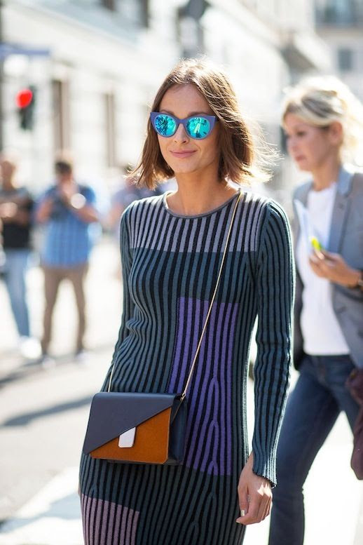 Le Fashion Blog Spring Street Style Cat Eye Mirrored Sunglasses Retro Style Striped Dress Mini Crossbody Bag With Color Block Details Via Harpers Bazaar