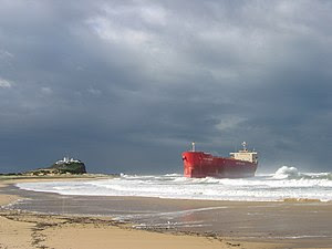 MV Pasha Bulker aground June 2007 on Nobbys Beach, NSW