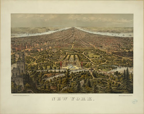 perspective map of the New York borough of Manhattan