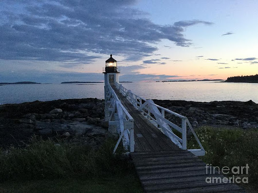 Sunset At Marshall Point Lighthouse, Port Clyde, Maine by Patricia Sundik