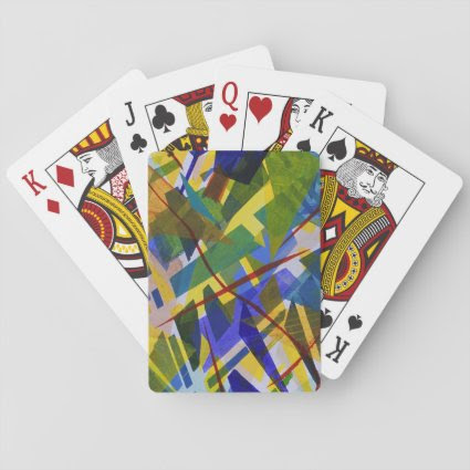 The City I, Abstract Contemporary Green Light Poker Deck