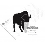 Bison Looking This Way Silhouette Yard Art Woodworking Pattern - fee plans from WoodworkersWorkshop® Online Store - bison,buffalo,animals,wildlife,silhouettes,yard art,yard art,painting wood crafts,scrollsawing patterns,drawings,plywood,plywoodworking plans,woodworkers projects,workshop blueprints