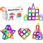 Best Choice Products 64-Piece Kids Magnetic Building Block Tiles STEM Educational Toy Set w/ Carrying Box - Multicolor