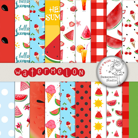 Watermelon digital papers, Picnic paper | Design Bundles