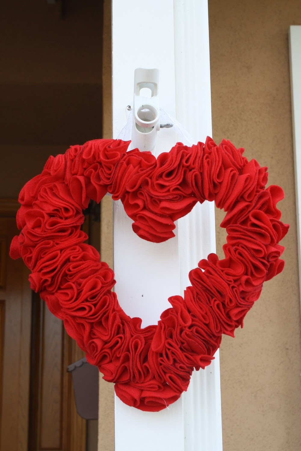 Wreath Home Decor Valentine's Red Heart Felt Door by LilNoodleBug