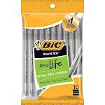 BIC Round Stic Xtra Life - Ballpoint pen - black - 1 mm - medium - pack of 10