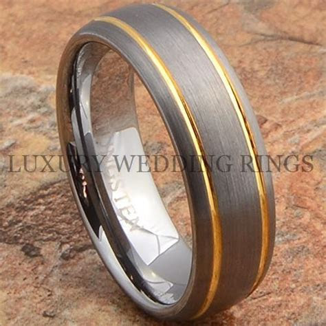 Mens Tungsten Ring 14K Gold Wedding Band 7mm Titanium