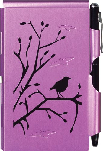 metal flip close notepad case with pen violet with bird image