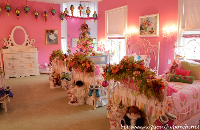 Pink girl's bedroom furnished with Pottery Barn furniture and ...