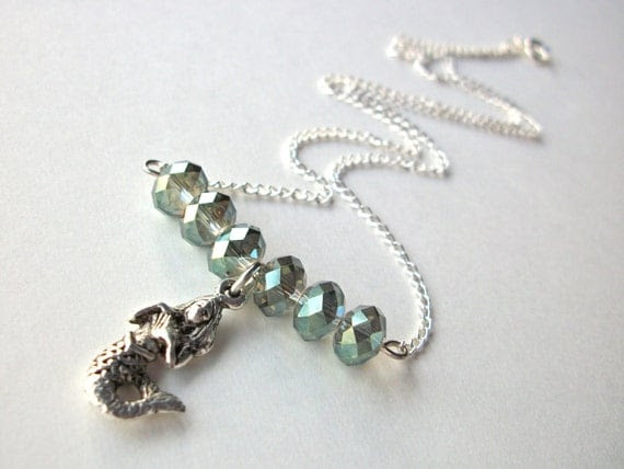 Silver Mermaid Necklace with sea green rondelle faceted AB crystal beads on silverplated chain, bar necklace simple ocean jewelry