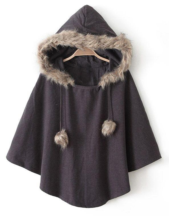 Brown Hooded Faux Fur Cape Coat EUR€18.90
