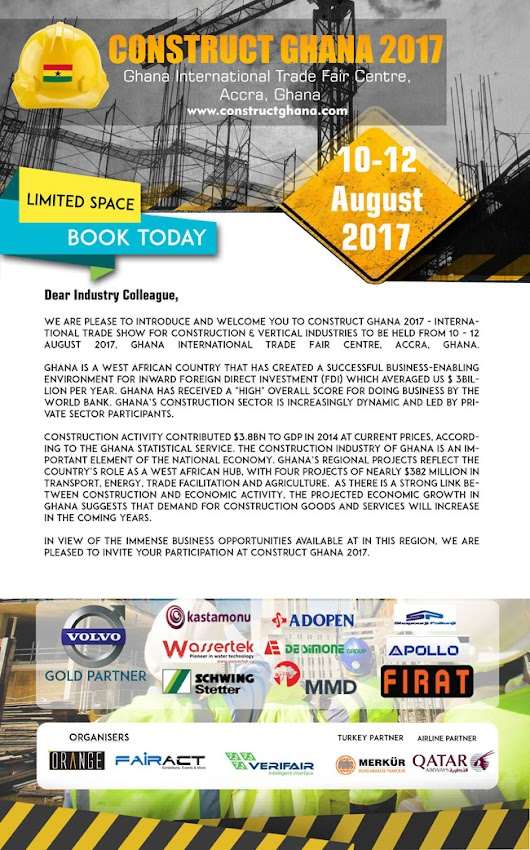 CONSTRUCT GHANA 2017 | 10-12 AUGUST 2017 | GHANA INTERNATIONAL TRADE FAIR CENTRE, ACCRA, GHANA