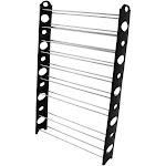 Zimtown 10-Tier Shoes Rack, 50-Pair Capacity Adjustable Steel & Plastic Shoe Rack (Black & Silver)