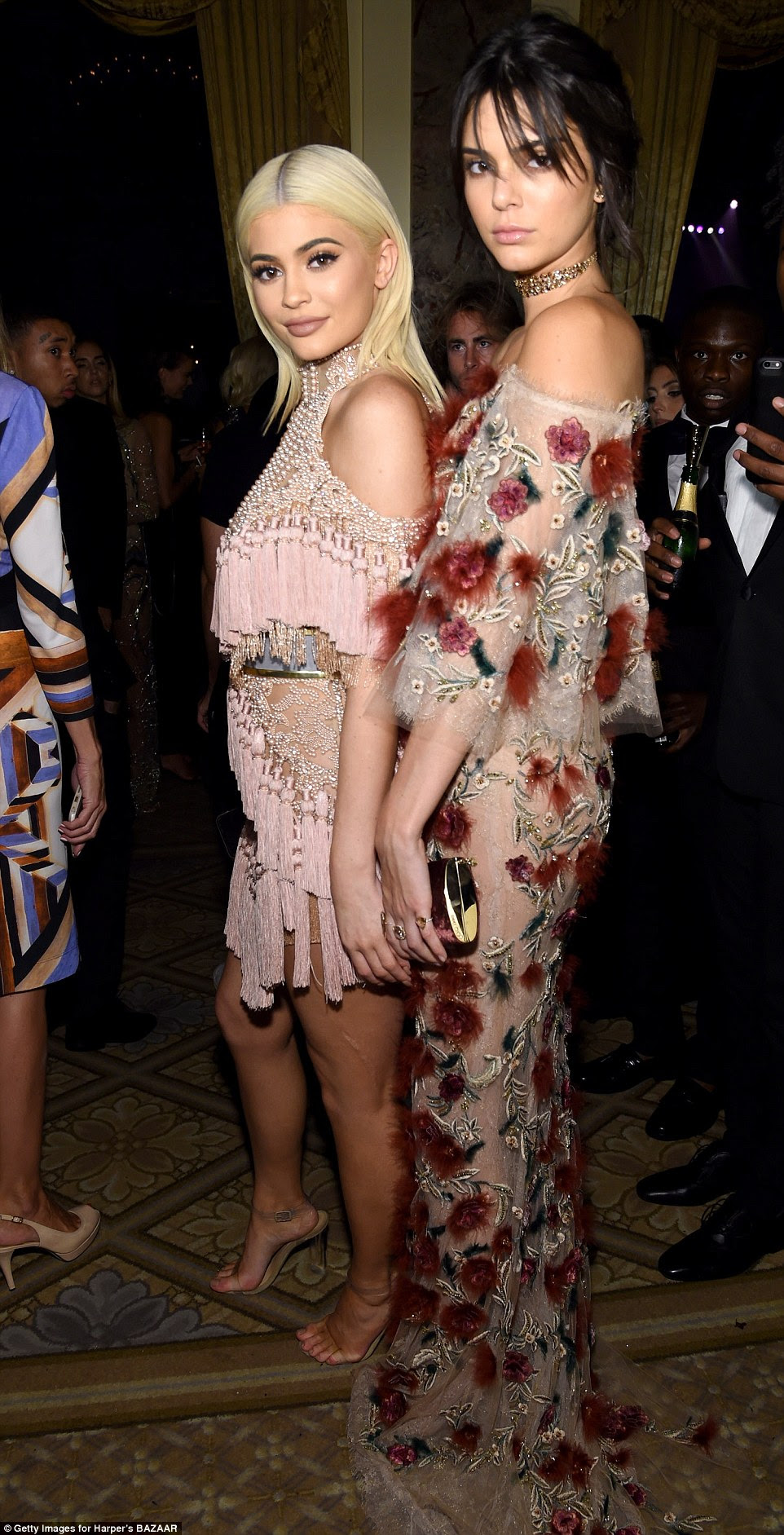 Close sisters: Kylie found her older sister, Kendall Jenner, and the pair held hands as they posed for a photo