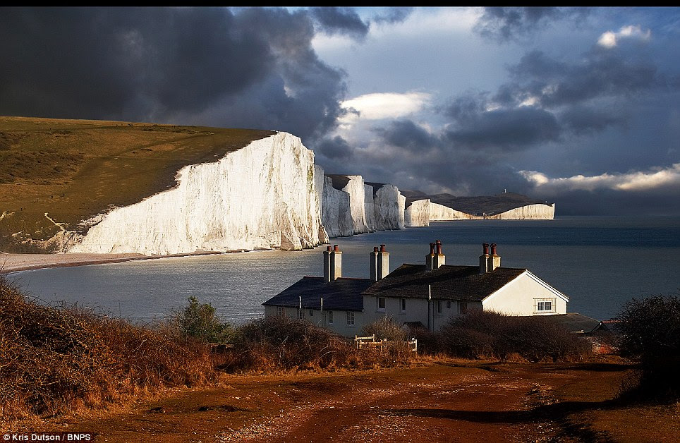 The white cliffs of... Sussex: A storm clearing from the Seven Sisters cliffs near Eastbourne on the English Coast