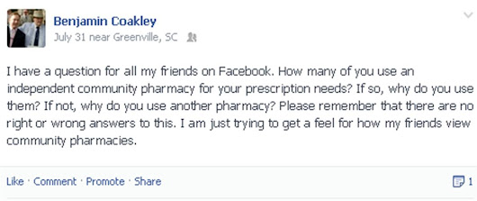 Perceptions of Community Pharmacy from my Facebook Friends