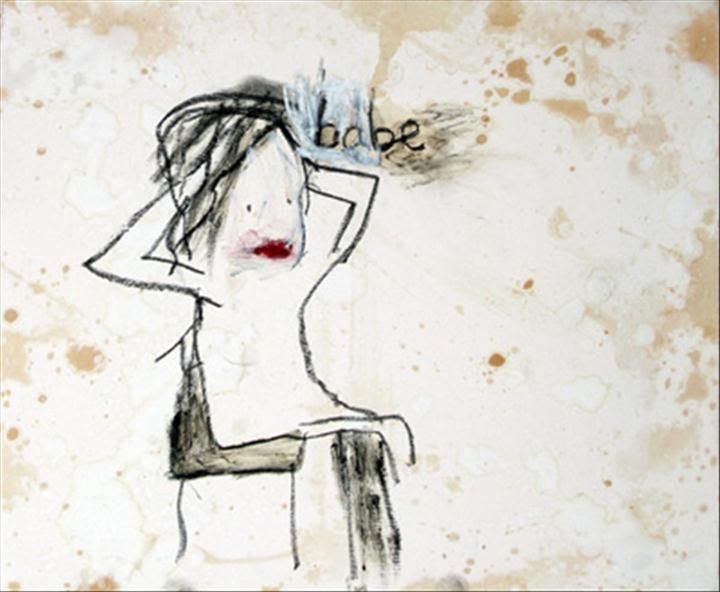 Babe . Oil stick and tea stains on gesso . Alice Leach