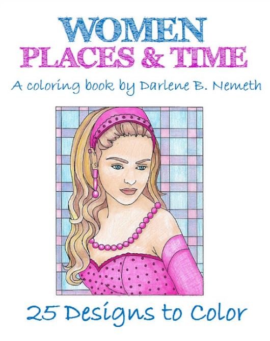 Women: Places and Time Portrait Coloring Page Adult Coloring