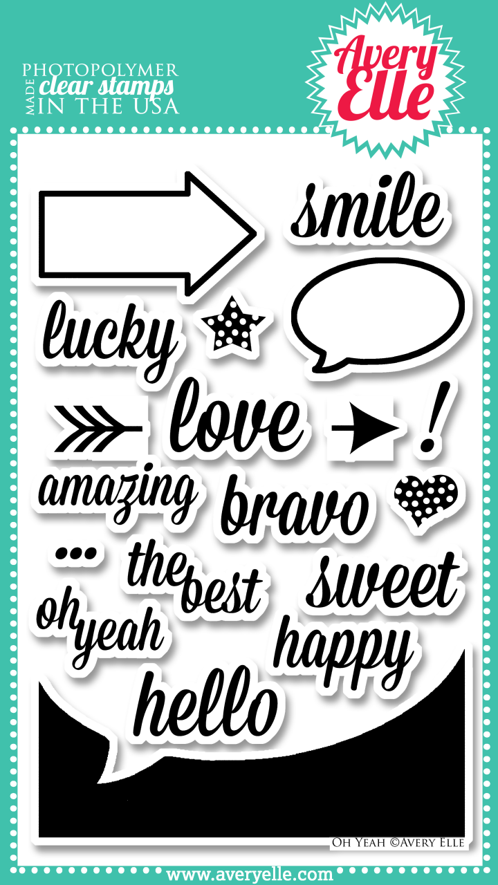 """Our 4"""" x 6"""" Oh Yeah clear photopolymer stamp set  (concept by Heather Campbell) is perfect for fun and fresh cards, project life or scrapbook pages.  Stamp the sentiments inside the speech bubble or arrow frame for a neat look.  The arrow image has a square base to make it easy to line up.  It can be stamped on either side of a sentiment to create an arrow with a message!  Use the negative speech bubble image to create your own journaling cards.  The possibilities are endless.  Consider using our coordinating Oh Yeah Elle-ments Dies to create professional results."""