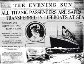 Titanic newspaper headline in The Evening Sun