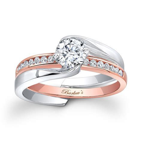 Barkev's White & Rose Gold Bridal Set 7916ST   Barkev's