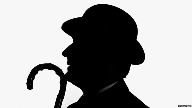 Patrick Macnee in silhouette