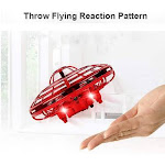 (11*11*5.5cm, Red) - YUTALOW UFO Drone,Infrared Sensors Interactive Drone Flying Toys,360 Rotating Hand Controlled,Obstacle Avoidance Induction