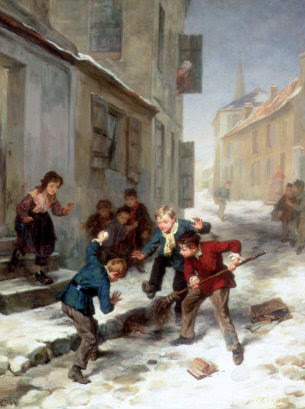Children Chasing A Rat