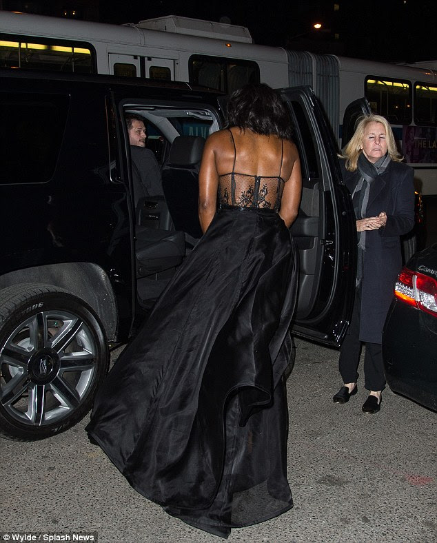 Back view: The Grand Slammer braved New York's 40F-degree weather in the half-naked gown