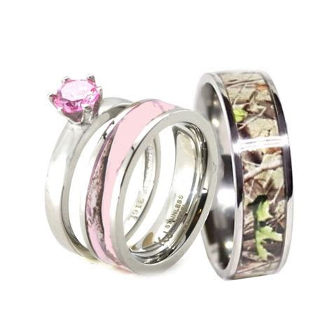 HIS & HER Pink Camo Band Engagement Wedding Ring Set