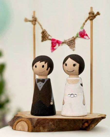 Wedding Wooden Peg Doll Cake Topper with Bunting and Wood