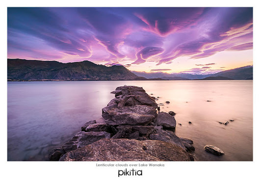 Postcard of Lenticular clouds over Lake Wanaka with code J62