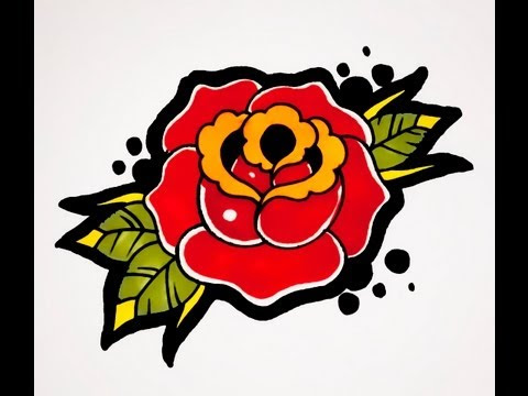How To Draw A Rose Old School Tattoo Style Tattookits14
