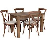 Flash Furniture 5 Piece Dining Set in Antique Rustic - XA-FARM-17-GG