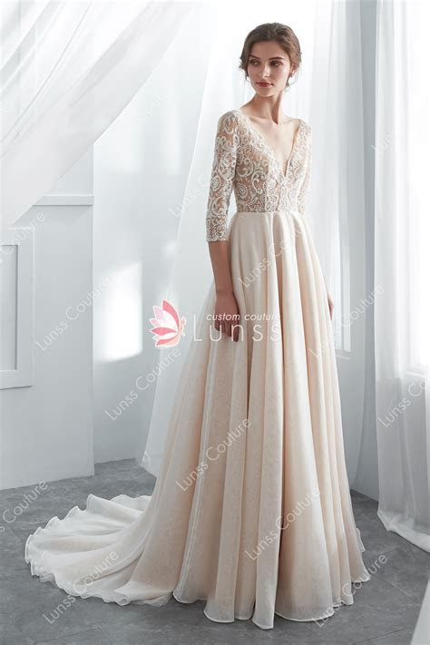 Champagne Beaded Lace Organza Wedding Gown with 3/4 Sleeve