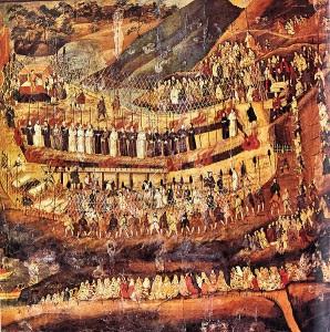 Pintura anónima japonesa que representa a los mártires cristianos de Nagasaki, entre los que se encontraba Martín de la Ascensión