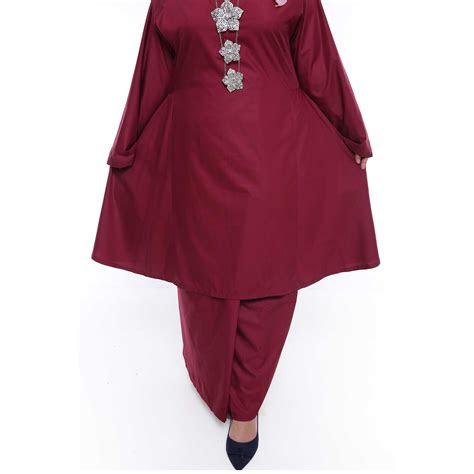 kurung riau pahang  size maroon malaysia baju