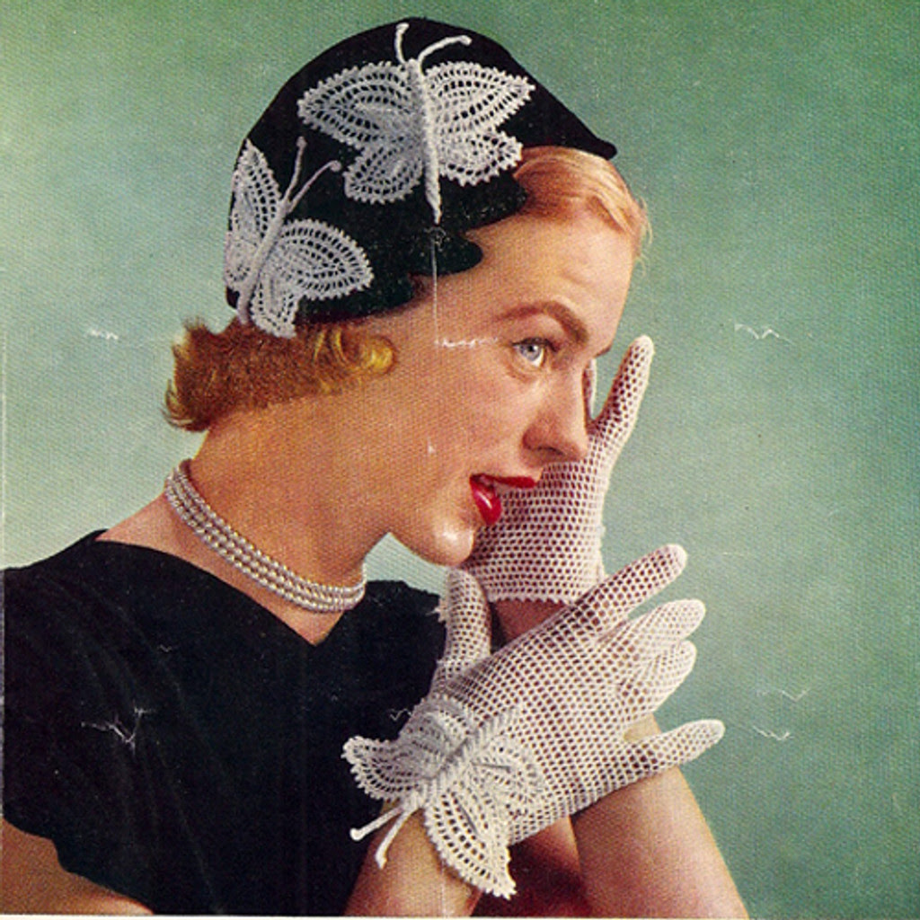 Vintage Butterfly Gloves Crochet Pattern