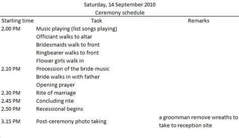 Sample wedding ceremony timeline via budgetbridesguide.com
