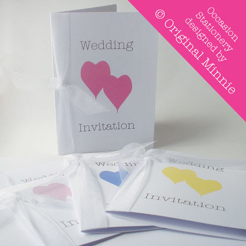 Wedding Invitations with ribbon from my Double Heart range
