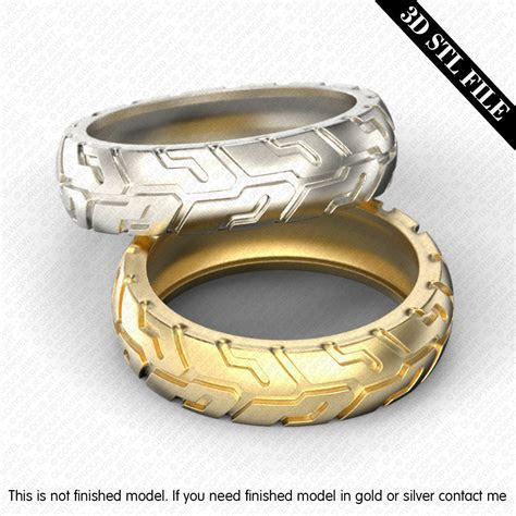 Five ring sizes 3D STL files Tire Wedding ring